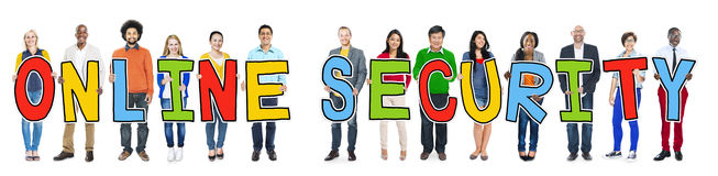 Multiethnic People Holding Letter Online Security Royalty Free Stock Images