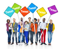 Multiethnic People Holding Sign With Tweet Royalty Free Stock Photography