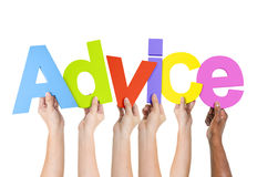 Multiethnic People Holding The Word Advice.  royalty free stock image