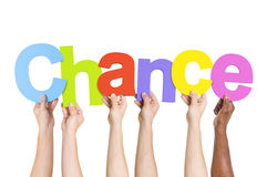 Multiethnic People Holding The Word Chance Stock Images