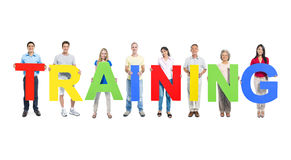 Multiethnic People Holding Word Training Stock Photo