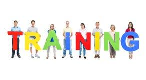 Multiethnic People Holding Word Training stock photo