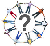 Multiethnic People Lying Down and Question Mark Royalty Free Stock Images