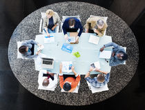 Multiethnic People Meeting at Conference Table Royalty Free Stock Photos