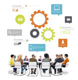 Multiethnic People in a Meeting with Infographic. Symbols royalty free stock photo