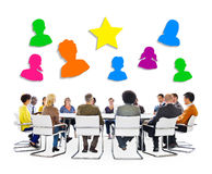 Multiethnic People Meeting and Social Media Symbols Above Royalty Free Stock Photo