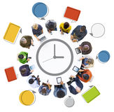 Multiethnic People Social Networking with Time Concepts Stock Images