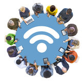 Multiethnic People Social Networking with WIFI Concepts Royalty Free Stock Image