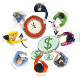 Multiethnic People with Time and Money Concepts Royalty Free Stock Photos