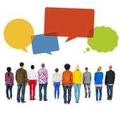 Multiethnic People Turn Back with Speech Bubbles Royalty Free Stock Photos