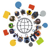 Multiethnic People Using Devices Around Table Stock Photo