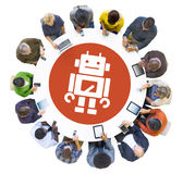 Multiethnic People Using Digital Devices with Robot stock illustration