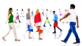 Multiethnic People Walking Isolated on White Royalty Free Stock Photos