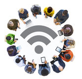 Multiethnic People with Wifi Technology Concepts Royalty Free Stock Image