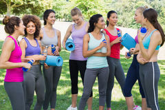 Multiethnic sporty women talking in park Stock Photos