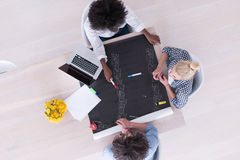 Top view of Multiethnic startup business team on meeting Stock Photo