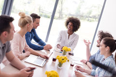 Multiethnic startup business team on meeting Royalty Free Stock Photos