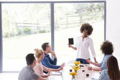 Multiethnic startup business team on meeting Royalty Free Stock Images