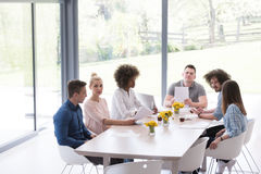 Multiethnic startup business team on meeting Stock Photo