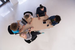 Multiethnic startup business team on meeting  top view Stock Photography
