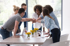 Multiethnic startup Group of young business people celebrating s Stock Photography