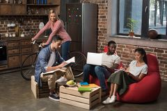 Multiethnic students studying together royalty free stock photography