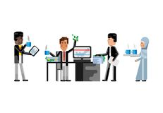 Multiethnic business teamwork in office. Multiethnic teamwork in office, african businessman with tablet pc, european man working at computer and arabic Stock Photography