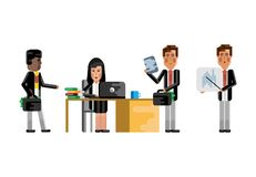 Multiethnic business teamwork in office. Multiethnic teamwork in office, european man doing presentation, asian woman working at computer and black man with Royalty Free Stock Images