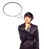Multiethnic Woman and Blank Thought Bubbles royalty free stock image