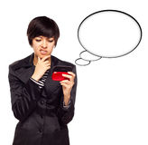 Multiethnic Woman with Cell Phone and Blank Bubble Stock Photo