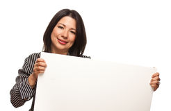 Multiethnic Woman Holding Blank White Sign Royalty Free Stock Images