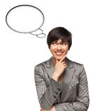 Multiethnic Woman With Blank Thought Bubbles Royalty Free Stock Images