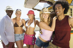 Multiethnic Young People By Campervan Royalty Free Stock Photo