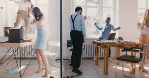 Multiethnische Geschäftsleute des glücklichen Spaßes der Zeitlupe tanzen in helle moderne Büropartei, feiern Leistungen zusam stock video