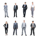 Multiethnische Geschäftsleute auf weißem Hintergrund Stockfotos