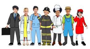 Multiethnische Gruppe Kinder mit zukünftigen Karriere-Uniformen vektor abbildung