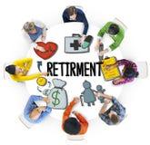 Multiethnische Gruppe von Personen mit Ruhestands-Konzept Stockfoto