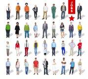 Multiethnische Gruppe von Personen und Verschiedenartigkeit in den Karrieren Stockfotos