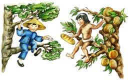 Multiethnische Jungen, die auf Bäumen sitzen Stockfotos