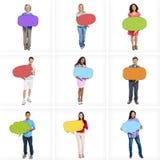 Multiethnische Leute mit leeren Sprache-Blasen Stockbilder