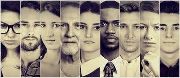 Multietnisk grupp av allvarligt folk royaltyfri fotografi