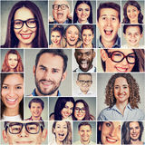 Multietnisk grupp av lyckliga le folkmän och kvinnor arkivfoton
