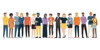 Multietnisk grupp människor stock illustrationer
