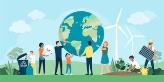 Multietnisk grupp människor som samarbetar för miljöskydd vektor illustrationer