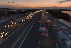 Multiexposition av natttrafiken nära den Odessa staden Royaltyfri Foto