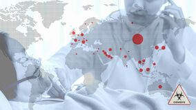 Multiexposure of world map with red spots show coronavirus covid 19 infected countries overlay with coronavirus covid 19 infected