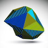 Multifaceted asymmetric contrast figure with parallel lines. Str. Iped colorful misshapen abstract vector object constructed from graffiti triangles. Bright Stock Photography