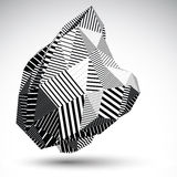 Multifaceted asymmetric contrast figure with parallel lines. Striped monochrome misshapen abstract vector object constructed from graffiti triangles and Royalty Free Stock Image