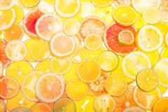 Multifruit citrus background orange yellow red lime lemon and graipfruit bright closeup royalty free stock photography