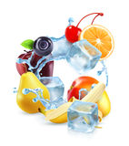 Multifruit with ice cubes and water splash Stock Photography